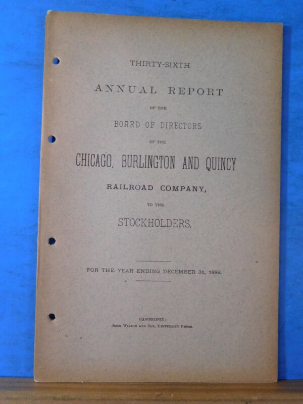 Chicago, Burlington, & Quincy Railroad Company Annual Report  1889