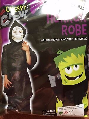 E 3 PIECE FANCY DRESS FULL COSTUME OUTFIT, Age 4-6 Years NEW (Horror Robe)