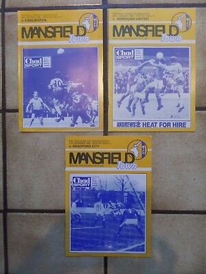 3 x Mansfield Town Home Football Programmes - Div 4 + FA Cup - 1980s - Lot 2