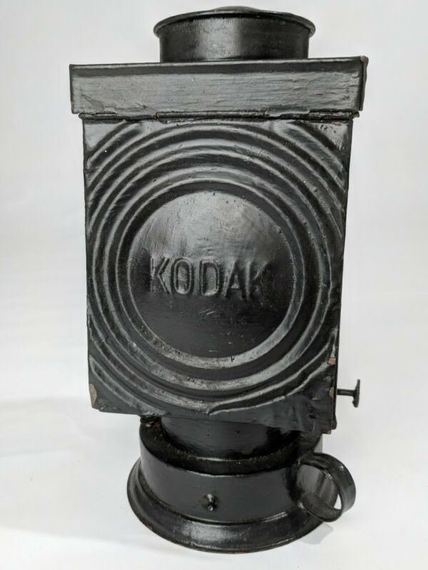 Vintage Kodak Heavy Tin Darkroom Oil Wick Lamp Safelight Matte Black Painted