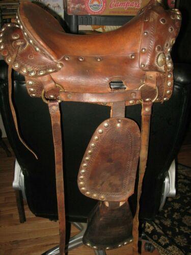 VTG Youth Child WESTERN Saddle Tapaderos Brown Leather Western Decor Americana