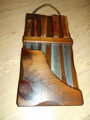 Vintage OLD HICKORY 5 PC. Ontario Knife Set, W/Hanging Display Holder True sharp