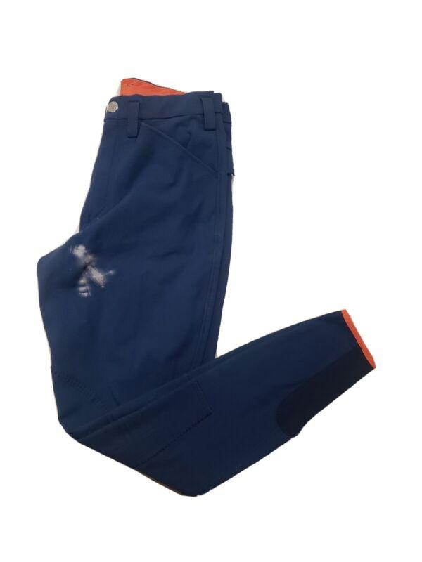 HERMES Navy Blue Jump BREECHES 40 Knee Patch Riding Pants Jodhpurs *DAMAGED*