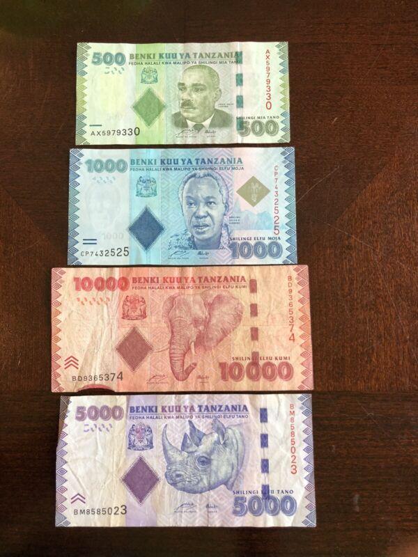 Beautiful Set of Tanzania Shillings Banknotes 500, 1000, 5000 and 10,000