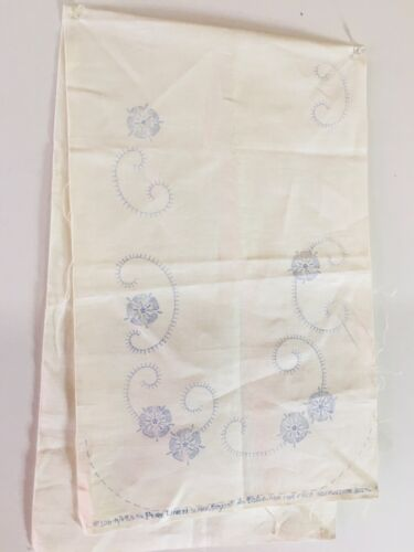 New Unworked Vogart Floral Stamped Embroidery Dresser Scarf, Table Runner, Doily