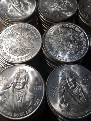 Silver 100 Peso Morelos 1977 1978 1979 Mexico Mexican Cien Pesos One BU Unc Coin