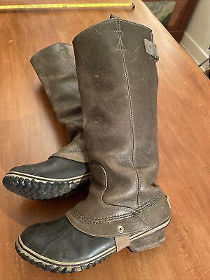 SOREL Slim pack Tall Equestrian Riding Rain Boots BrownGreen Womens 9 NL2007-383
