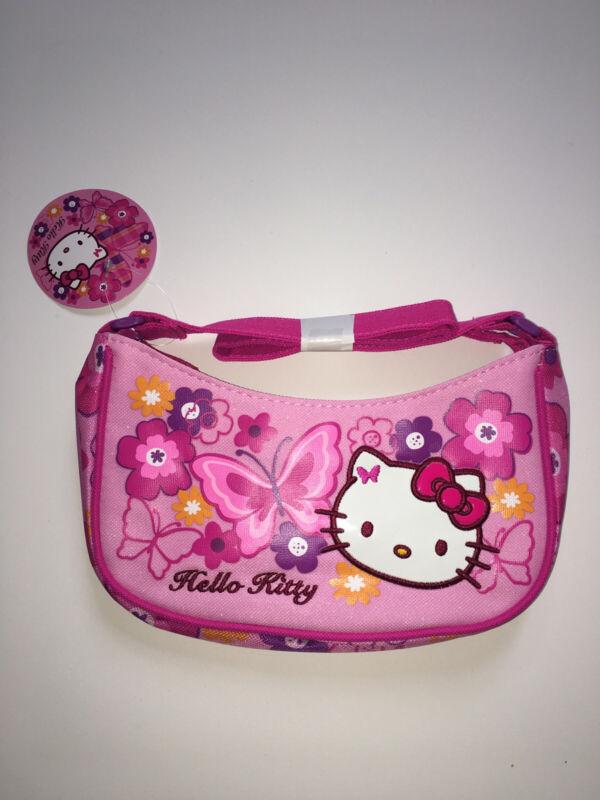 Hello Kitty Sanrio  Pink Butterfly Flower Shoulder Carry Zipper Bag Purse Cute