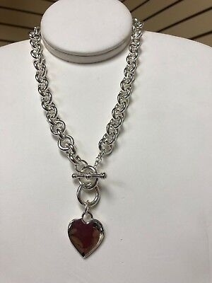 SILVER plated HEART TAG TOGGLE NECKLACE 16