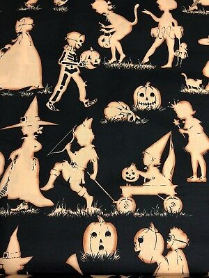 Alexander Henry Halloween Lane Trick Or Treaters Kids Silhouettes Fabric BTHY - Henry Halloween
