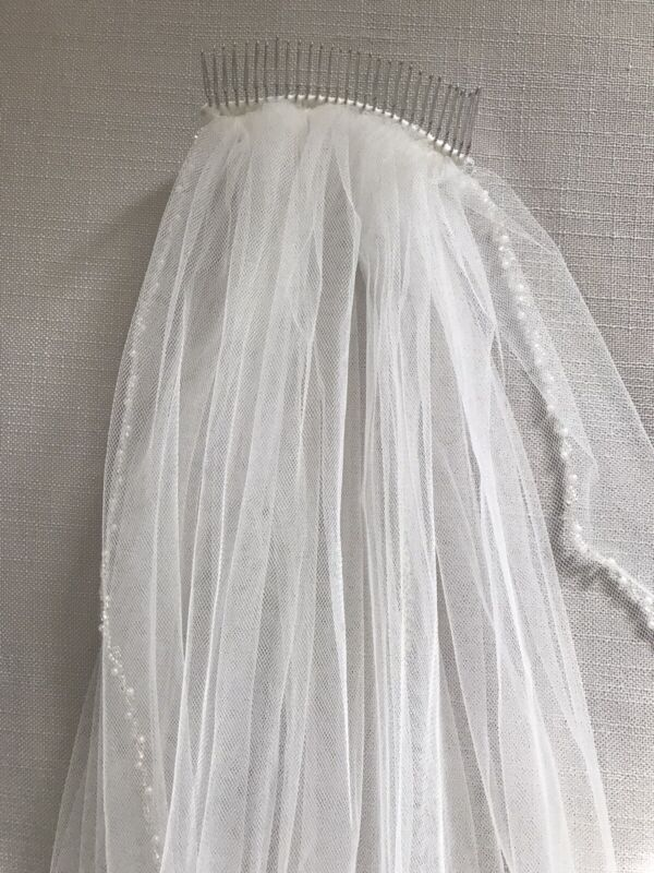 Beaded Ivory Fingertip Length Wedding Veil with Pearls and Crystal accented Edge