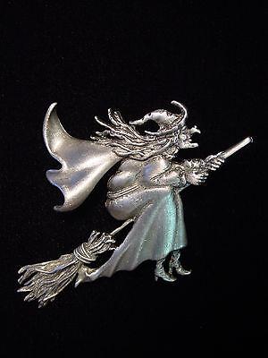 Jj  Jonette Jewelry Silver Pewter Halloween Witch On Broom Pin