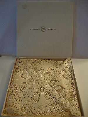 OLD Vintage B Altman Co Lace Fine Wedding Hankie Hanky Handkerchief Switzerland