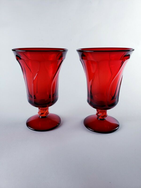 """2 Fostoria JAMESTOWN Ruby Red Glass Water Goblet 6"""" tall, excellent condition"""