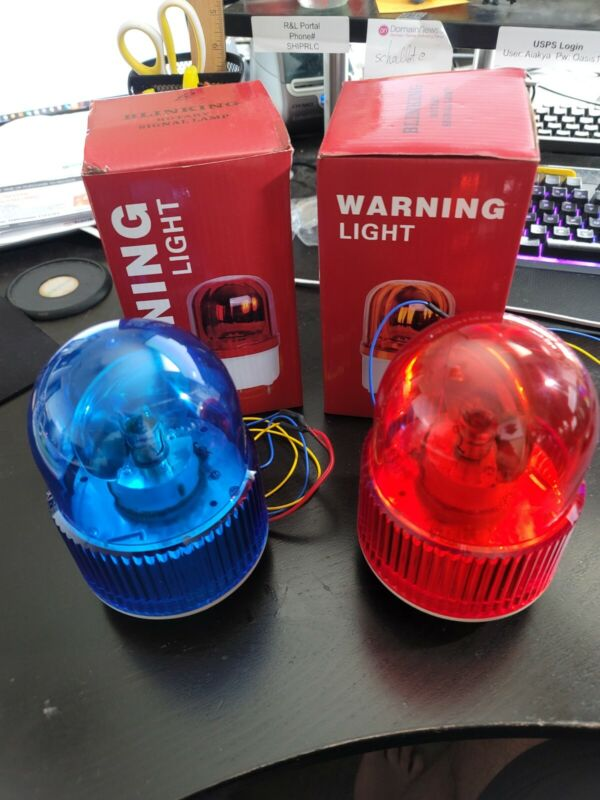 Virtual Pinball Police Beacons - Set of 2 Red & Blue Spinning 12V Light Beacons