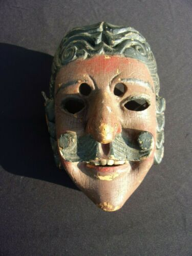 """VINTAGE GUATEMALAN DANCE FACE MASK """"MEXICANO"""" WOODEN FOLK ART HAND CARVED"""