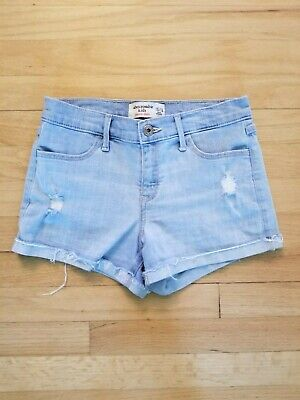 ABERCROMBIE KIDS - Shortie Shorts - Light Wash - Distressed Jean Shorts - 15/16