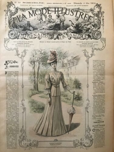 French MODE ILLUSTREE SEWING PATTERN May 6,1906 Layette, ceinture corset...
