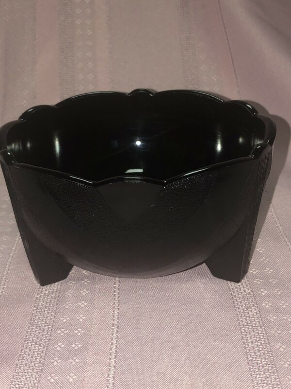 Vintage LE Smith Art Deco Black Amethyst Glass Planter Footed Dish