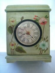 Vintage Wood Mantel/Table Cabinet Clock Front Door Access Floral Design 13 Tall