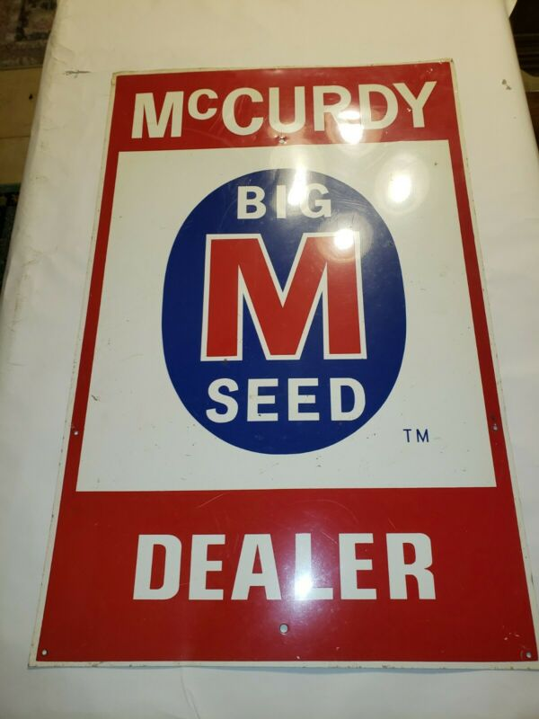 VINTAGE MCCURDY BIG M SEED DEALER FARM SIGN 28X18