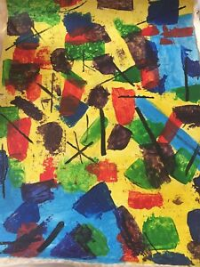 J.p. Riopelle abstract painting 19x14 signed