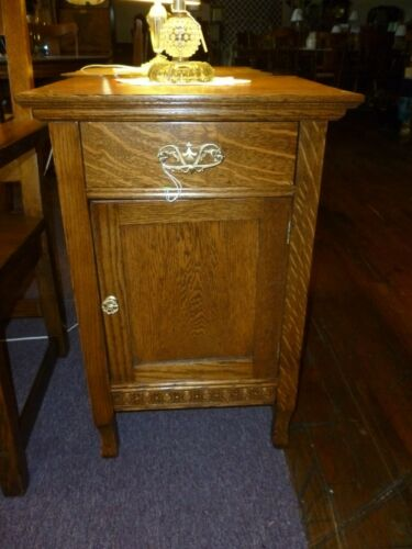 Antique Oak Nightstand , washstand end table refinished cast brass pulls 1900