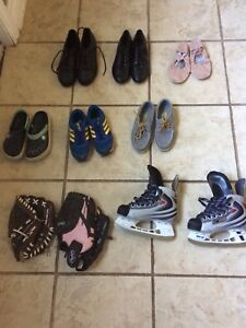 Kids sports equipment and shoes