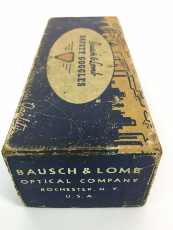 Vintage Bausch & Lomb chip ban Safety Goggles Glasses 10/1943 FAST~FREE~SHIPPING