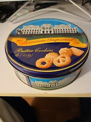 Vintage Premium Imported Butter Cookies Tin Metal Round
