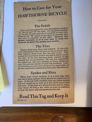 Original Paper Montgomery Wards Hawthorne Bicycle Bike Care Tag Vintage 591-60-1