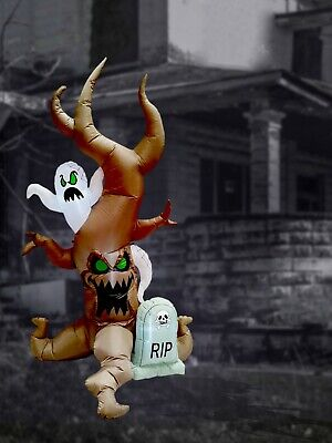 8 Foot Halloween Inflatable Yard Decoration Grave Scene Ghost Tombstone Blow up