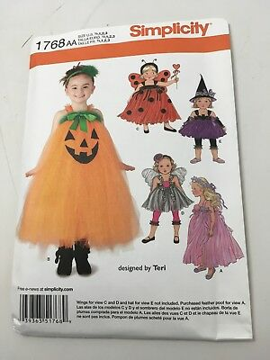 NEW SIMPLICITY 1768 GIRLS PRINCESS ANGEL WITCH COSTUMES PATTERN SZ 1/2-3  EASY  - Easy Angel Costume