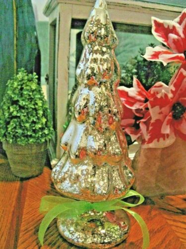 """New Shimmering Gold Iridescent Mercury Glass Christmas Tree with GREEN Bow--10"""""""