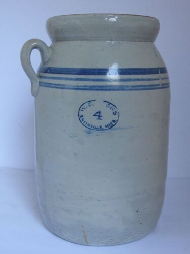 ANTIQUE STONEWARE 4 GALLON CROCK BUTTER CHURN  W. D. SUGGS MISSISSIPPI 1900