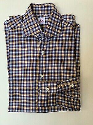 Mattabisch NAPOLI by Kiton Men's Shirt, Size 15/38, Blue/Yellow/Purple Check