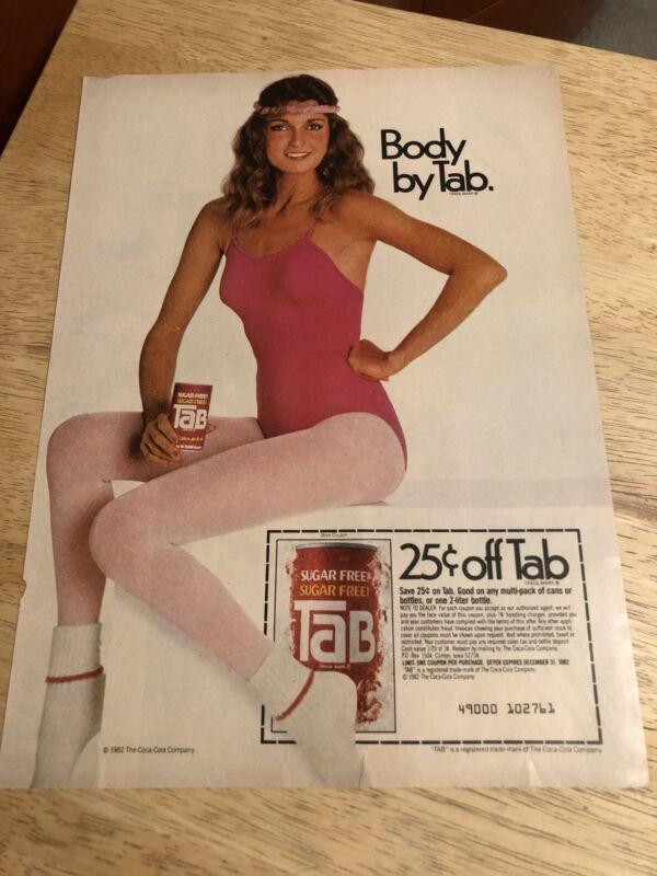 Vintage 1982 TAB SUGAR FREE SODA  Print Ad Page - Body By Tab