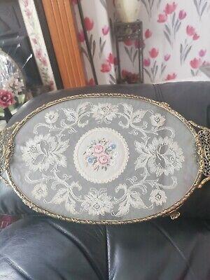 Oval Vintage   Petit Point Filigree Vanity/ Dressing Table Tray