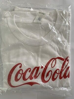 Coca Cola T Shirt Red on White Classic Logo Size XL Adult New In Sealed Bag.