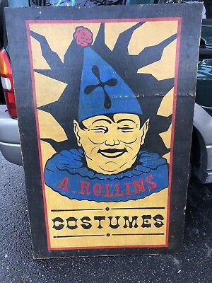 Vintage Costume Shoppe Advertising Sign, Circus Sideshow Clown Jester