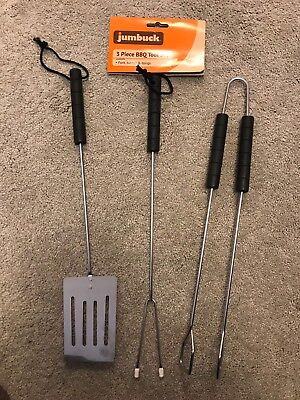 3 Piece BBQ Barbecue Tool set Fork Turner & Tongs