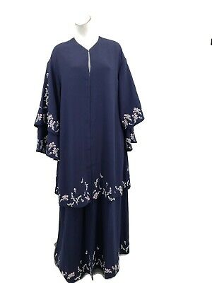 Juicy Couture Black Label Blue Embroidered Abaya XS/S Floral Robe Dress Cloak