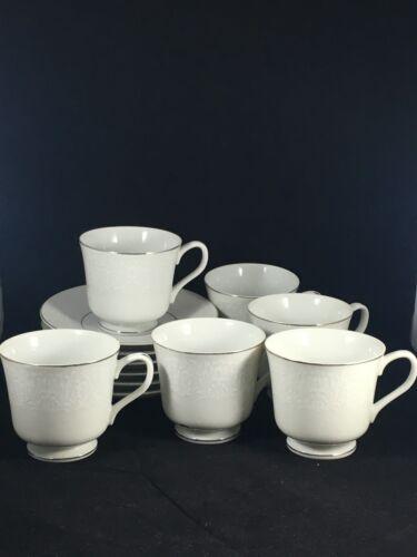 Carlton Japan Plymouth 303 White Floral 6 Tea Cups & 6 Saucers w/ Silver Trim