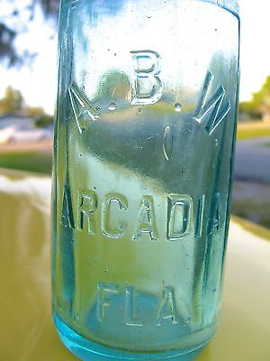 ARCADIA BOTTLING WORKS 100 YEAR OLD HUTCH BOTTLE A.B.W. FLORIDA FLA FL RARE