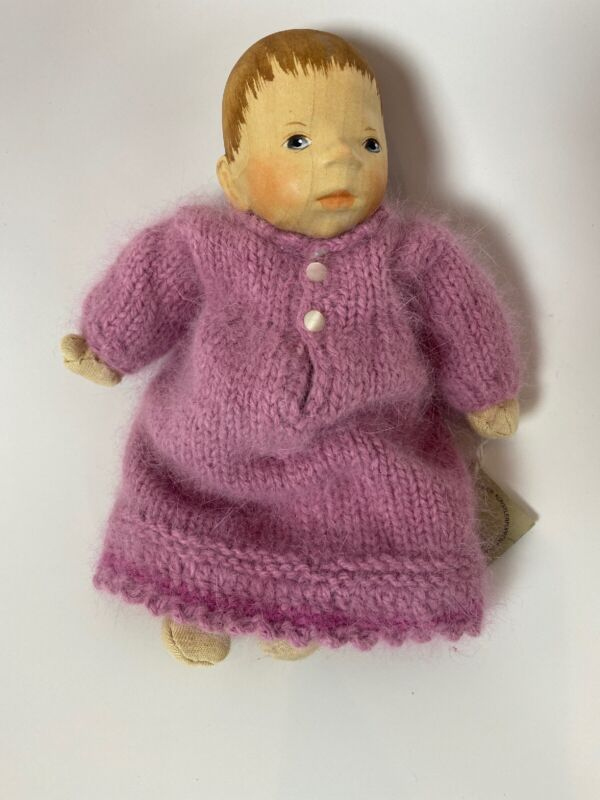 Artist Elisabeth Pongratz wood baby doll hand carved hand knitted from Germany