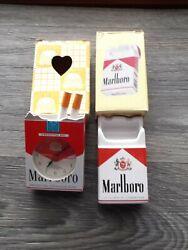 Vintage Advertising Cigarette pack style MARLBORO Ashtray and Alarm Clock/sign.