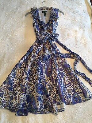 Ralph Lauren Ruffle Frilly Floral Dress Wraparound Sleeveless 6 Purple Paisley