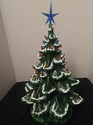 """Iconic Vintage Light Up Ceramic Christmas Tree 16"""" Green Works Tested"""