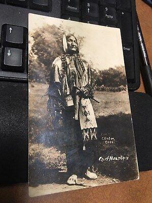 Real Photo Postcard RPPC Native American Indian Chief Mountain Clinton Oklahoma
