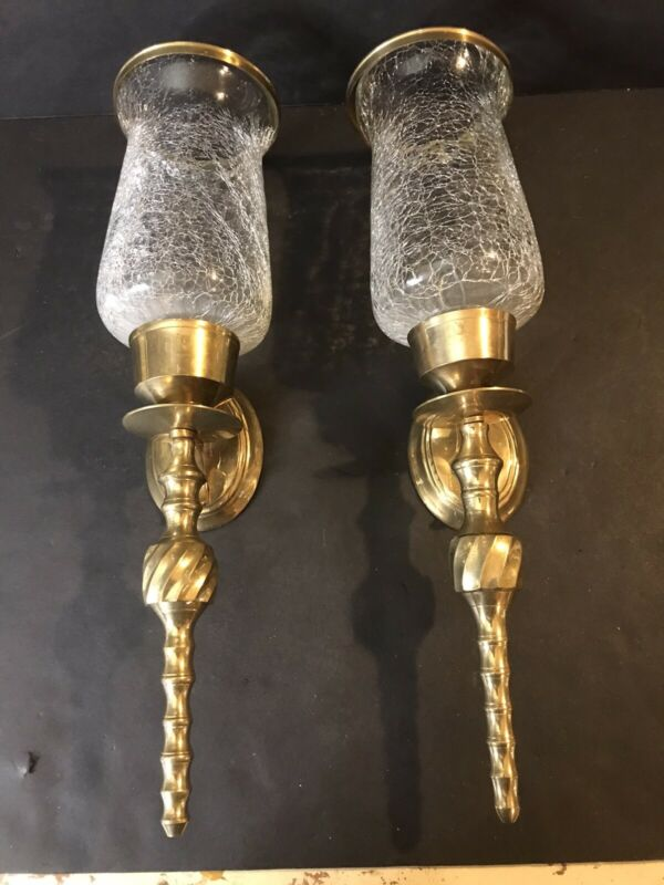 """2 Crackle Glass Candle Holders 7""""  With Brass Sconces 15"""" Vintage Home Interior"""